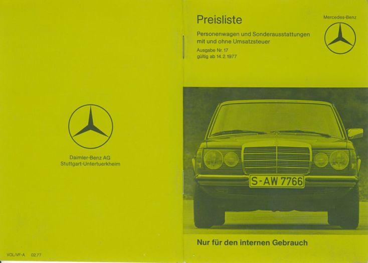 W123 Bremen Price Lists Price List No 17